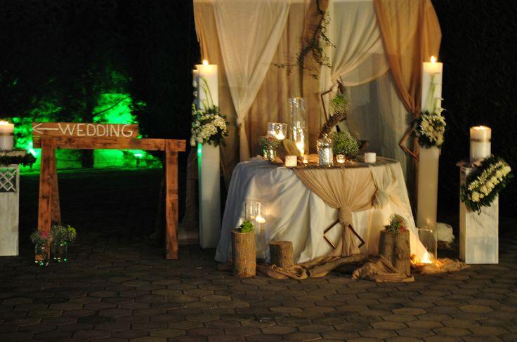 Rustic welcome wedding table