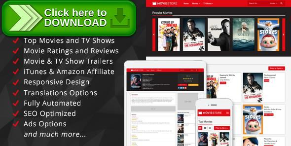 [ThemeForest]Free nulled download MovieStore - Movies and TV Shows Affiliate Script from http://zippyfile.download/f.php?id=49245 Tags: ecommerce, affiliate, api, itunes, jquery, lazy loading, movies, php, responsive, reviews, script, search engine, seo, trailers, tv shows, tvseries