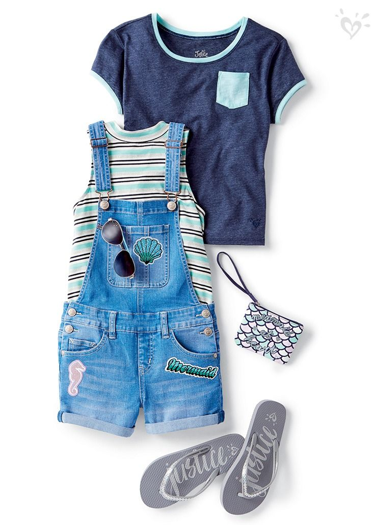 his patch-perfect denim shortall adds the right amount of cool to warmer days.