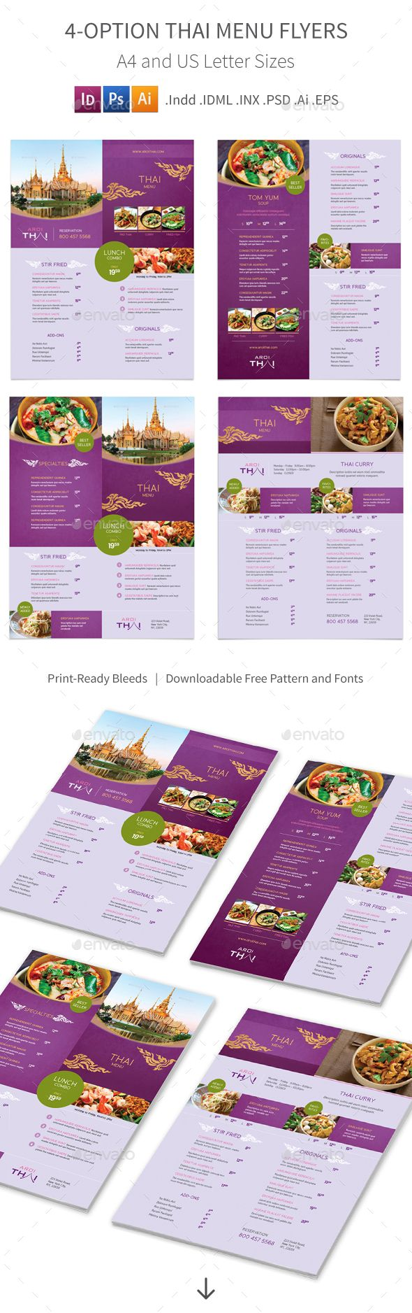 Awesome Thai Restaurant Menu PSD Flyer  Template • Only available here ➝ http://graphicriver.net/item/thai-restaurant-menu-flyers-2-4-options/16390993?ref=pxcr