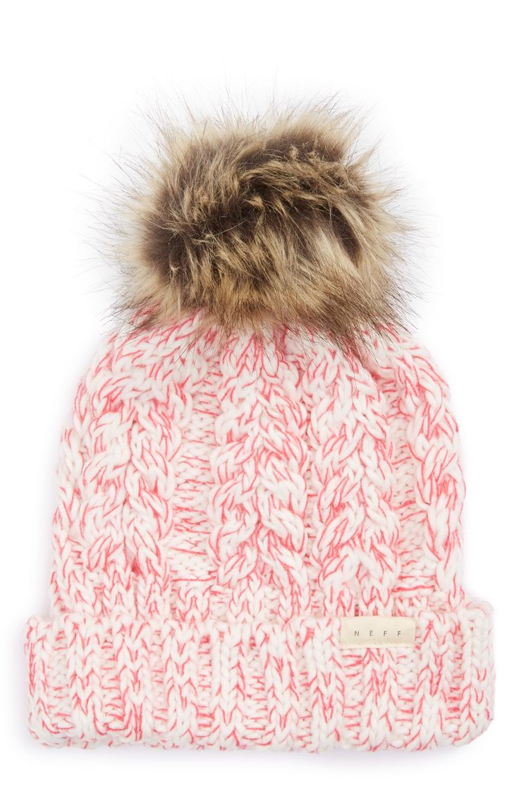 Neff 'Kalie' Faux Fur Pompom Beanie (Big Girls)