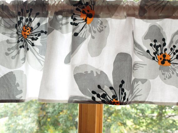 Curtain Panel White Grey Black Yellow Anemone Flower
