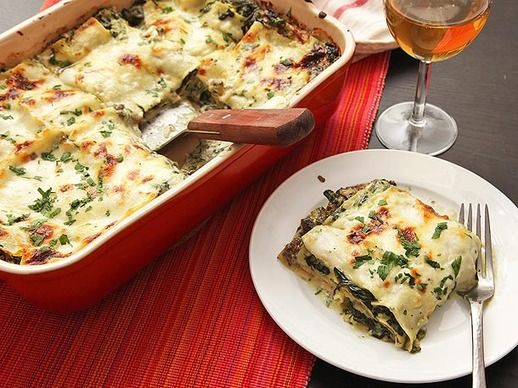 Ultra-Creamy Spinach and Mushroom Lasagna with ricotta instead cottage cheese