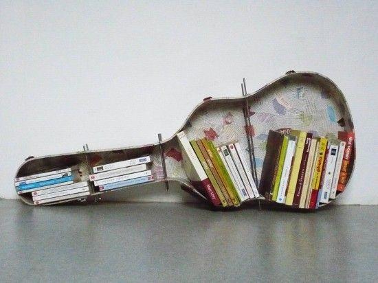 guitar case shelfIdeas, Bookshelves, Guitar Cases, Bookcas, Book Shelves, Sheet Music, Musicroom, Music Room, Music Book