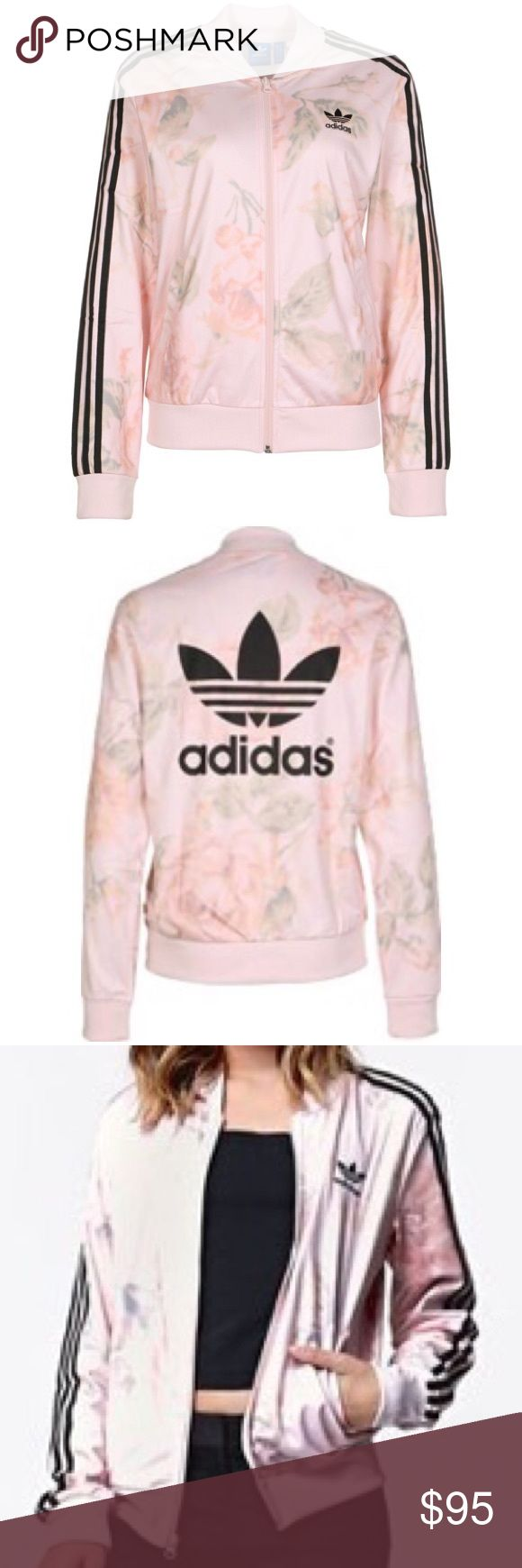 NWOT adidas pastel floral zip up Light pink zip up jacket with all over subtle floral design.  100% polyester.  Never worn  No trades Adidas Jackets & Coats