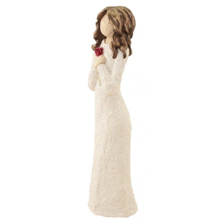 Damefigur Med Rød Rose - Brunt Hår, 33 cm