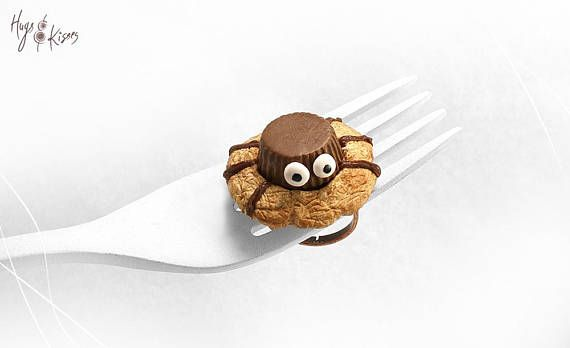 Halloween Spider Cookie Ring Miniature Food Cookie