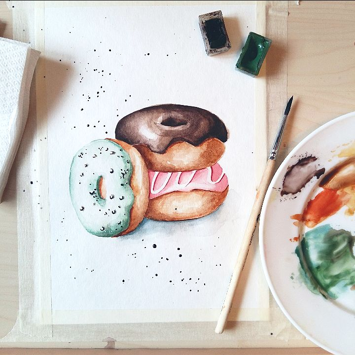 My watercolor cakes: how to draw a donut