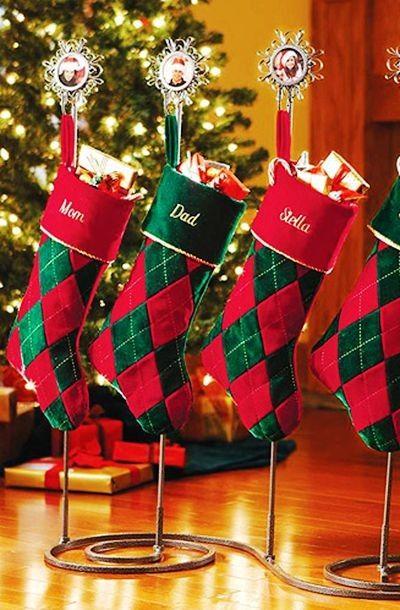 christmas stockings for christmas red plaid christmas stocking to decor your house - Custom Christmas Stockings