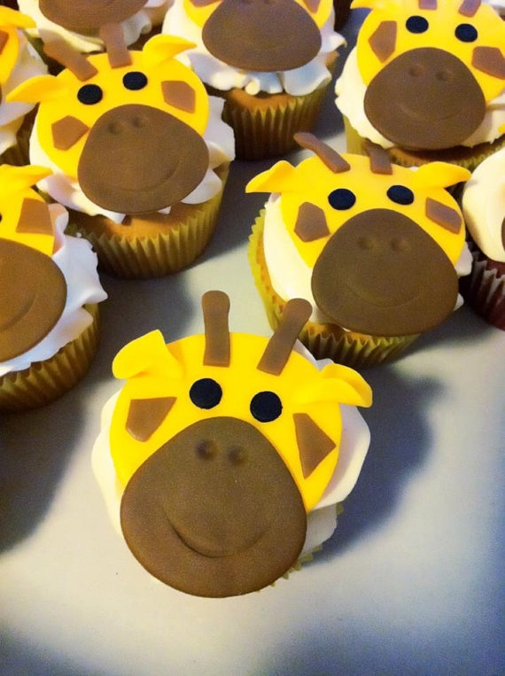 Giraffe Fondant Cupcake Toppers by BellisimoDesigns on Etsy, $20.00