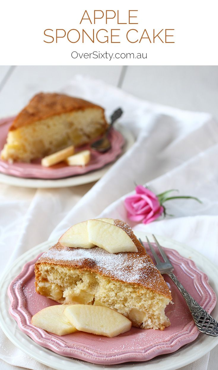 Apple Sponge Cake Recipe - this cake is light, fluffy, and full of juicy apples. The perfect afternoon tea treat or snack.