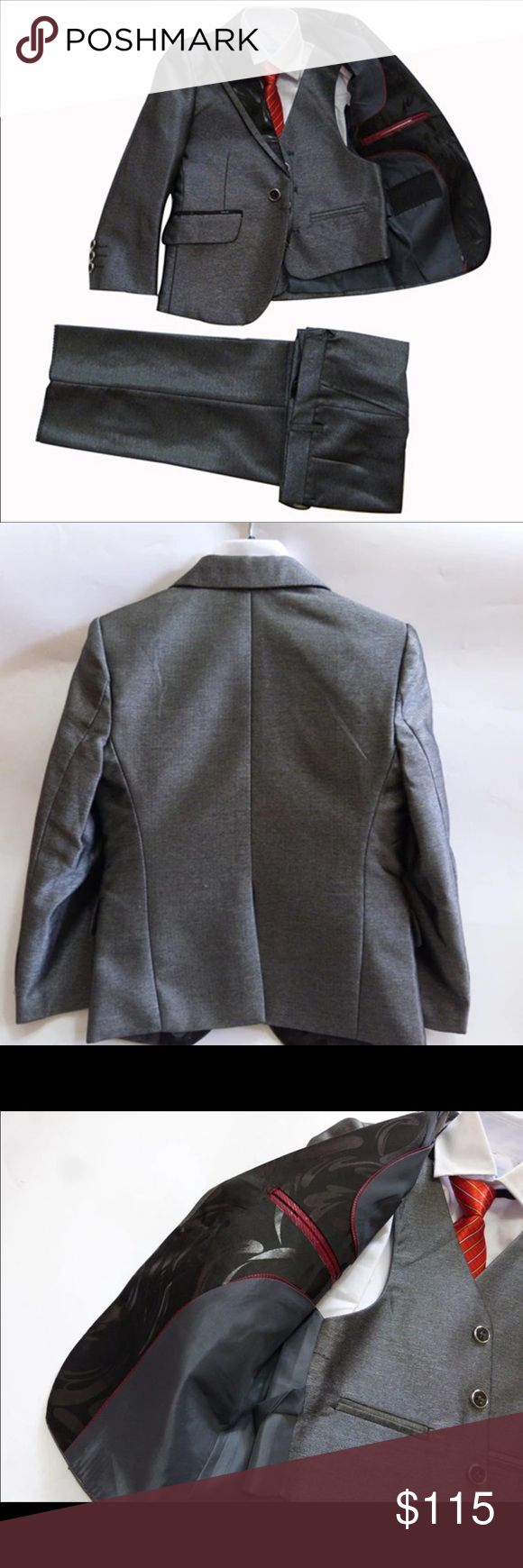 Boys Tuxedo Jacket Wedding 3 PCS Formal Suit Grey Shipping Time: 12-21 Days Expedited shipping available for extra fee. Price of renting a tuxedo or suit for kids is overpriced. It is cleaner, safer, and cost effective to buy your own boys Suit in the long run! They can always wear it for church or any other party or wedding without having to pay all of the fees and prices of renting someone else's worn suits. 👔 EVERY MAN NEEDS ONE GOOD SUIT! 😀 Size chart in pictures! Size 3T -14 Matching…