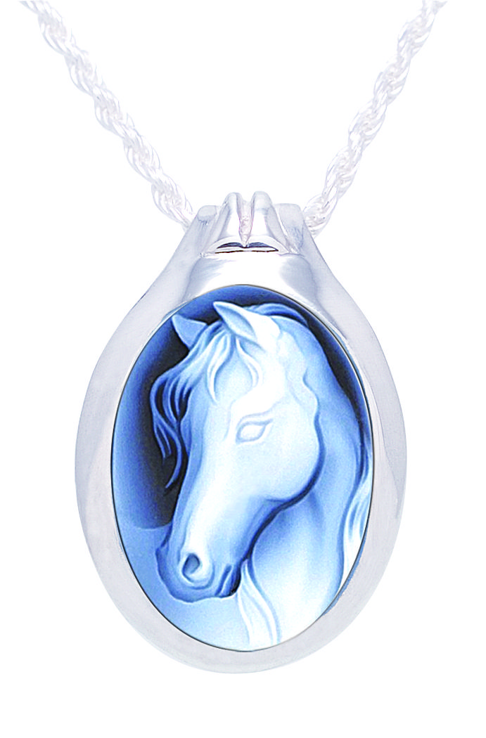 Horse Cameo Sterling Silver Pet Cremation Jewelry Pendant