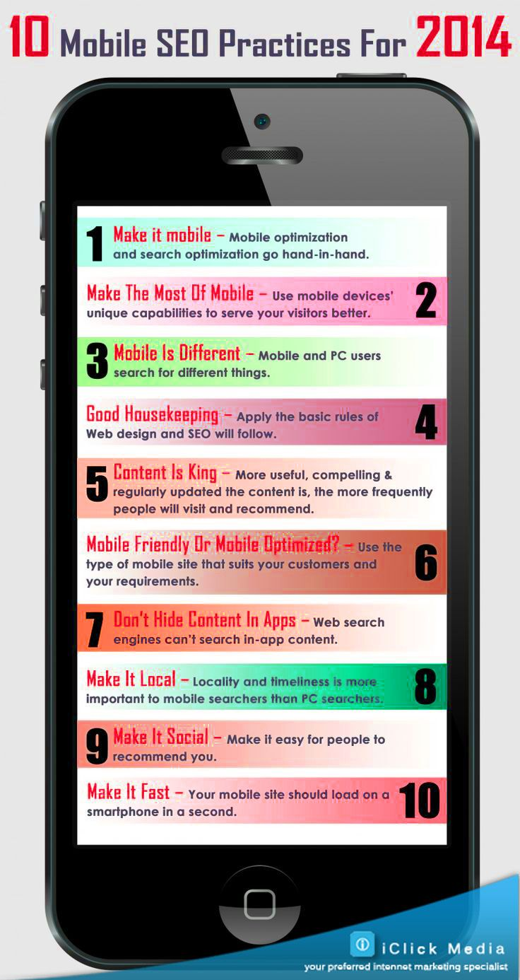 Mobile optimization for SEO.