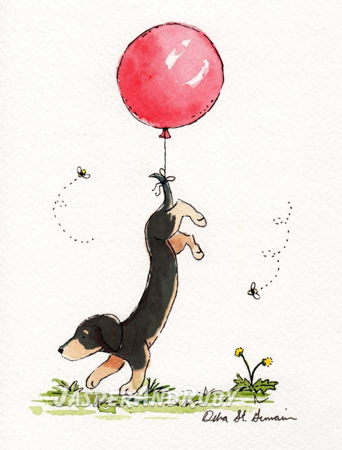 Dachshund Nursery Art- Carried Away- Doxie with Pink Balloon- 5x7 Archival Print for Baby and Children. $9.00, via Etsy.