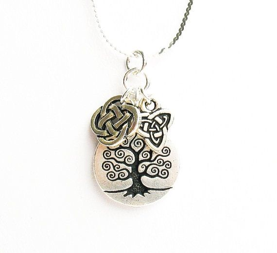 Sterling Silver Celtic Trinity Tree of Life Birthstone Necklace - August 8rKNttHmW