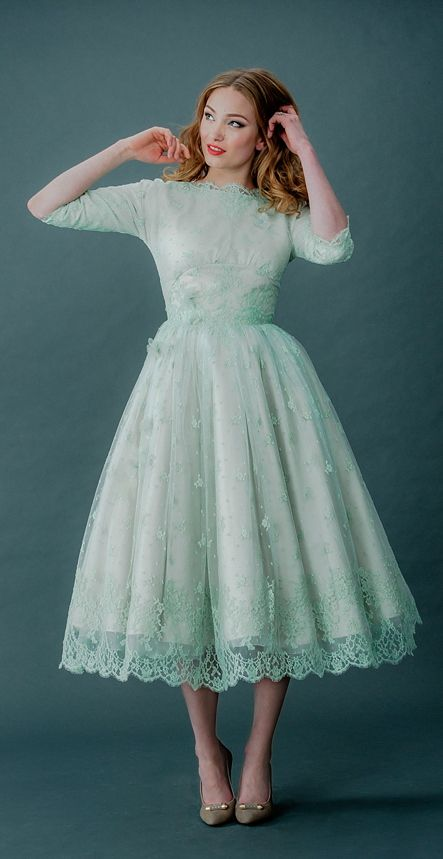 Mint tea length dress #retro #vintage #50s...Okay somebody stop me if I'm pinning too much mint!! Can't seem to get away from it! More