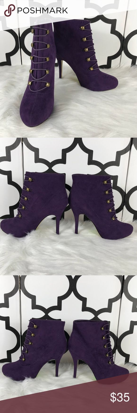 Shoe Dazzle Purple Booties Shoe Dazzle  Heeled boots   4 inch heel  Purple   8  Like New Shoe Dazzle Shoes Ankle Boots & Booties