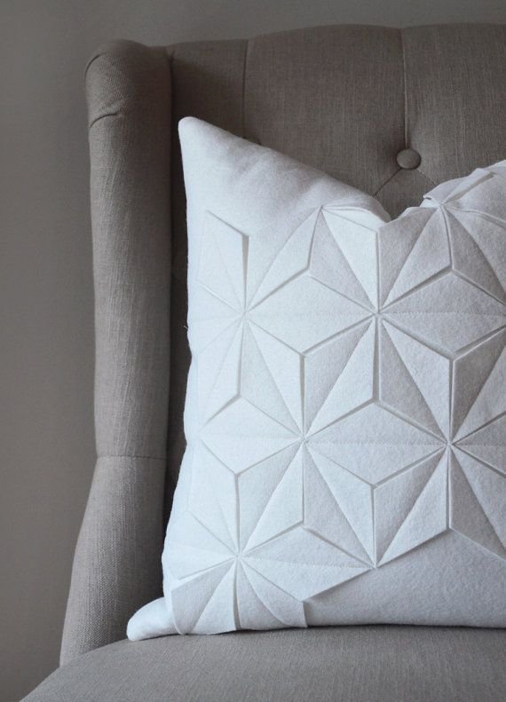 Geometric Winter White Wool Felt 18x18 Pillow by whitenest on Etsy