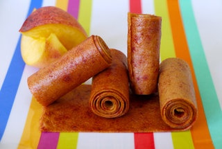 Peach Fruit leather. 4 skin-on peaches, 1 Tbsp. honey. So yummy & healthy!
