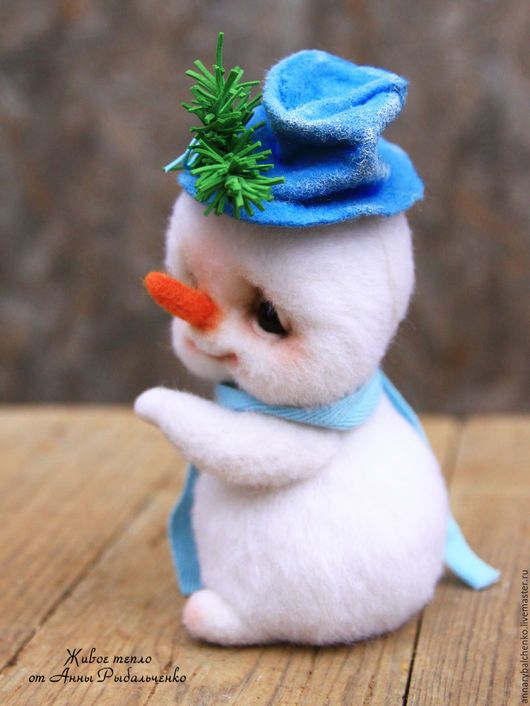 Fabulous handmade characters.  Snegovichok Frosty.  Anna Rybal'chenko.  Arts and crafts fair.  Snegovichok, Toy Gift, 100% wool