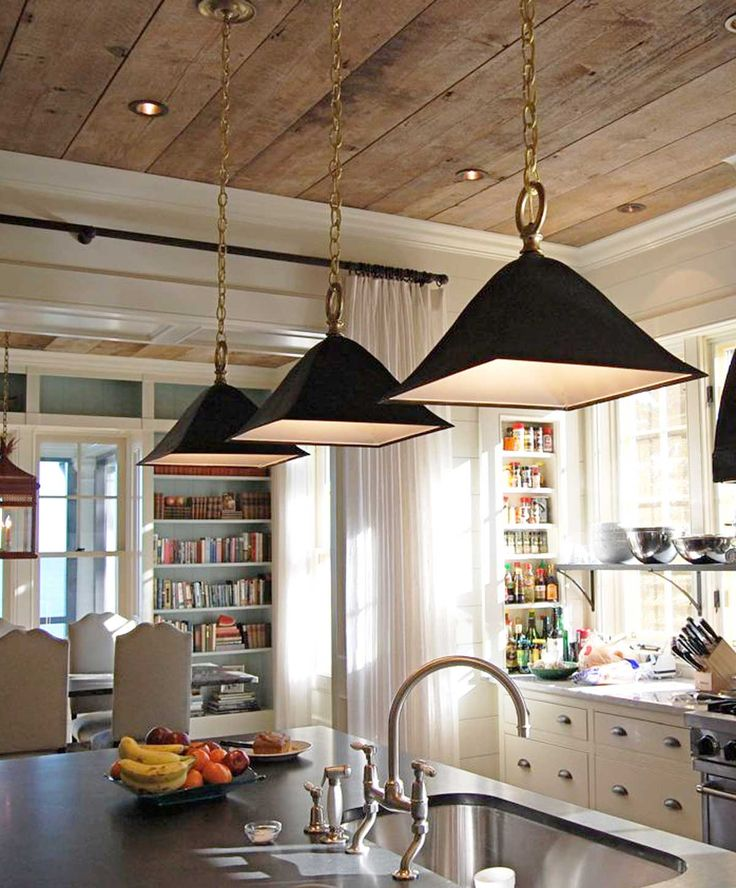 Kitchen Lighting Options: Wood Ceiling W/ Recessed Lighting And Crown Molding. UECo