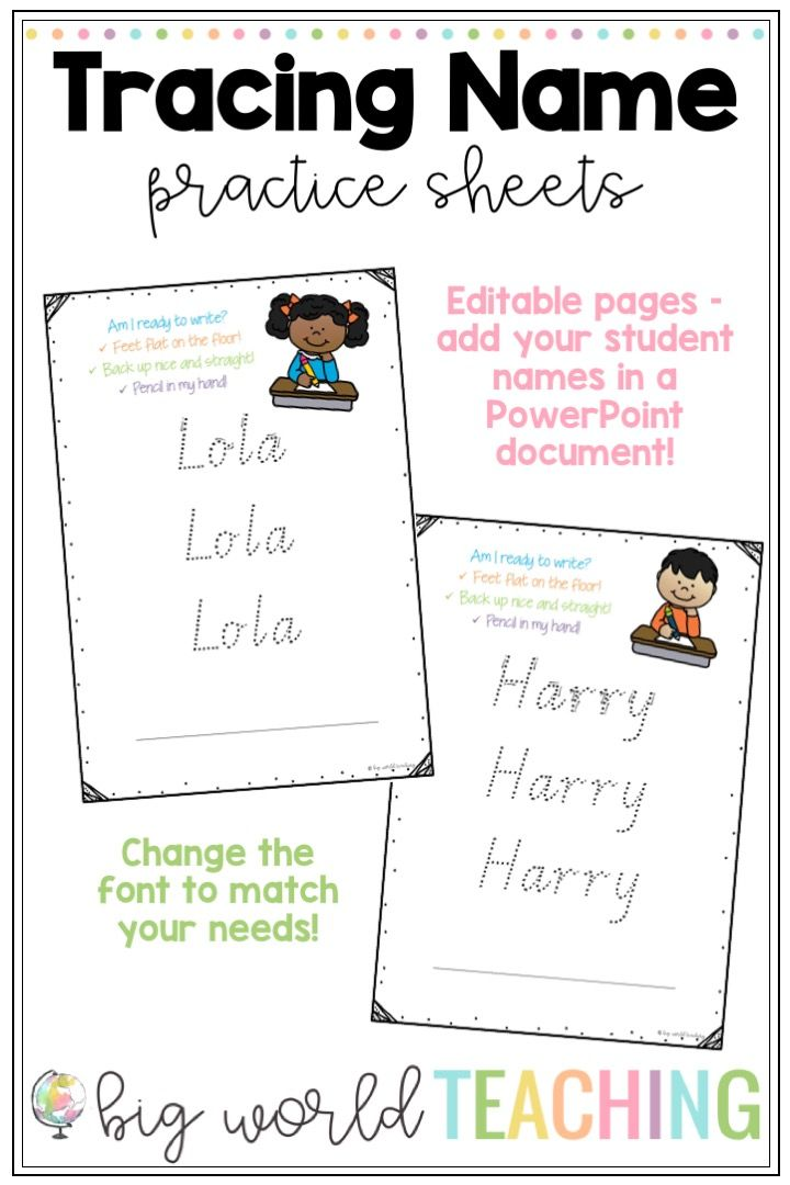 Tracing Name Practice Sheets | TPT Products | Pinterest | Activities ...