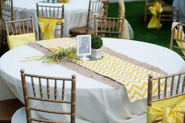 Yellow Rustic Garden Wedding | Confetti Daydreams - Yellow chevron and burlap table runners, nice!