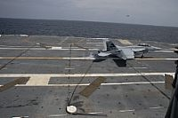 170728-N-ZE240-0120 ATLANTIC OCEAN (July 28, 2017) An F/A-18F Super Hornet assigned to Air Test and Evaluation Squadron (VX) 23 performs an arrested landing aboard USS Gerald R. Ford (CVN 78).  The aircraft carrier is underway conducting test and evaluation operations. (U.S. Navy photo by Mass Communication Specialist 3rd Class Cathrine Campbell/Released)