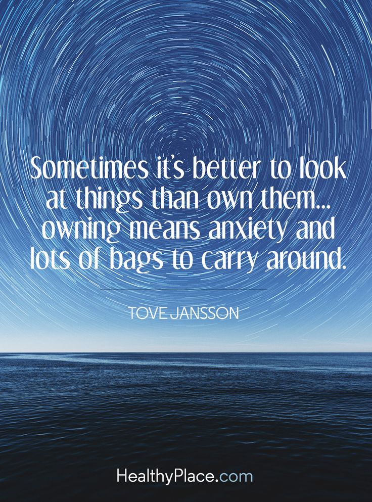 Quote on anxiety: Sometimes it's better to look at things than own them... owning means anxiety and lots of bags to carry around - Tove Jansson. www.HealthyPlace.com