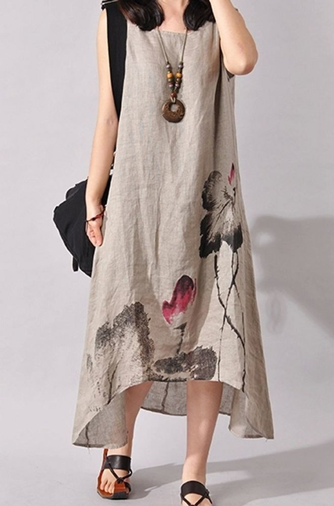 Women loose fit plus size flax linen ethic flower Bohemian skirt maxi length #Unbranded #dress #Casual