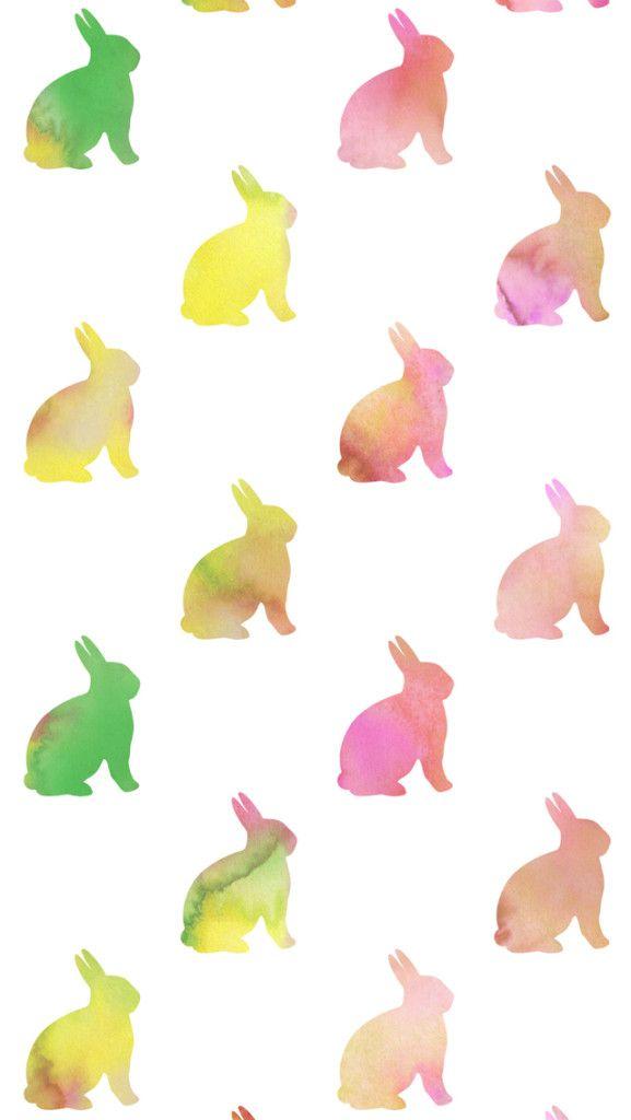 Pastel Watercolor Easter Bunny iPhone Wallpaper. iPhone