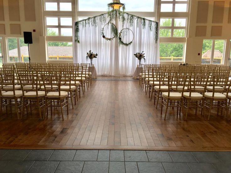 #cldesigns #cldesignteam #bohowedding #weddingceremony #indoorweddingceremony #greenery #hulahoop #chiavarichairs #newbrunswickweddings #weddingbackdrop