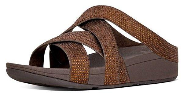 #FitFlop Fitness Schuhe Sandalen - Slinky Rokkit Criss-Cross, Slide, braun.