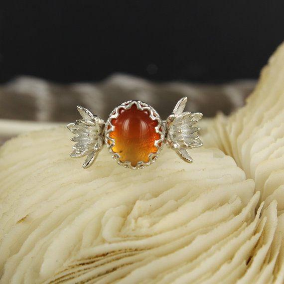 Anillo del ópalo  ópalo de fuego anillo  flor anillo  Lotus