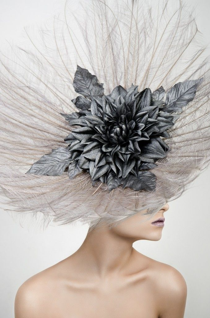 Cara. Large Feather Flower Fascinator