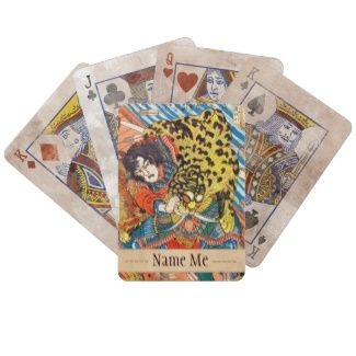 One of the 108 Heroes of the Popular Water Margin Card Decks  #hero #fighting #tiger #customizable #japanese #japan #warrior #samurai #christmas #gift #vintage #accessories