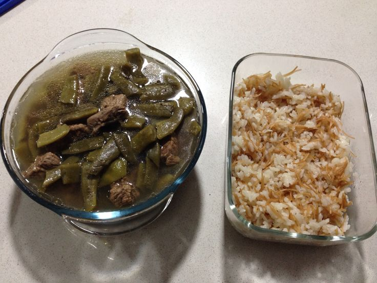 Loubieh blahme  Bean with meat & rice