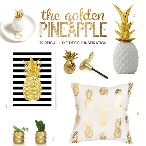 Tropical pineapple dresser drawer knobs for baby, kids, and adults alike! Available in two colors: whitewash and gold. Each knob measures about 1.25 x 2.2 x 1 inches and includes necessary mounting hardware. the bolt on this knob measures about 1.63 inches in length.  Ships within about 5 business days.  Full product information for the Golden Pineapple Tropical Luxe Inspiration is available on our instagram feed @saltboxtradingco