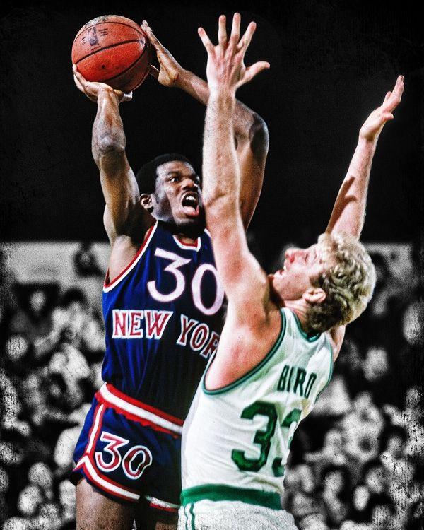 This photo art piece of Bernard King captures the New York Knicks small forward driving through Bird to the hoop