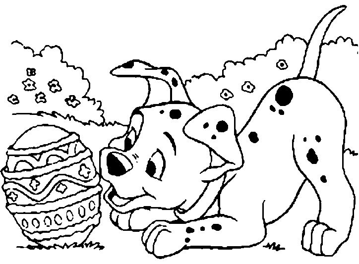 dog see egg easter coloring page