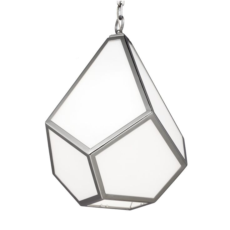 Inspired by stained glass, the Diamond pendant light collection features modern, large-scale, pedants with dramatic facets made of individual panes of glass in a metal frame. The Opal White glass creates a warm glow and hides the internal lamping. Soft light shines out the bottom of the open pendants. The custom canopy features a raised, faceted design detail to continue the motif. Dimensions: Small W: 9'' H: 14 3/8'' (1 Light) Medium W: 13 1/2'' H: 19 1/2'' (1 Light) Large W: 19'...