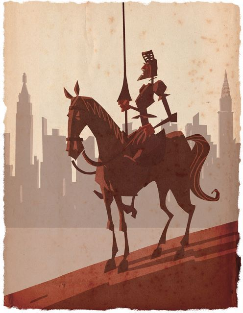 My buddy Rob just went to New York to do some comic book promotions for his AMAZING graphic novelisation of Don Quixote. This, therefore, is Don Quixote in New York. You should buy it, it's great http://dinlos.blogspot.co.uk/