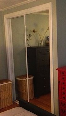 how to paint gold trim on mirrored closet doors - $5 update!