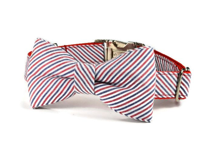 Americana Seersucker Bow Tie Dog by: Bone And Bow Tie www.boneandbowtie.com (bow tie dog collar, dog bow tie collar, preppy dog collar, wedding dog collar, bow tie for dog)
