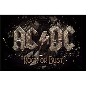 Official AC/DC fabric poster flag featuring Rock Or Bust design.