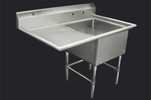"""Simple 24"""" Stainless Steel sink with 24"""" drainboard  Model:  TSS-2424-L24. Also available in 18"""" model."""