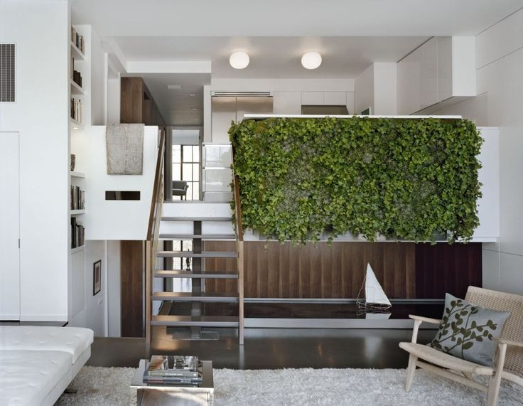 General, Interior Mezzanine Living Room With Vertical Garden Vines: Modern  Indoor Residential Vertical Gardens