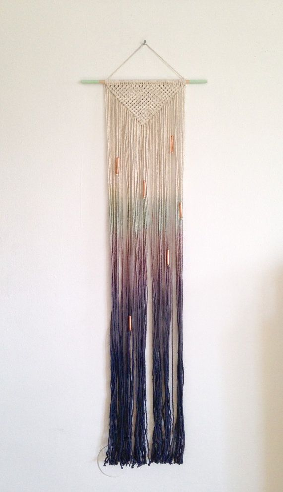 Macrame wall hanging, ombre cotton on a light wood dowel. Mint to dark blue. Triangle shape. Copper beads.