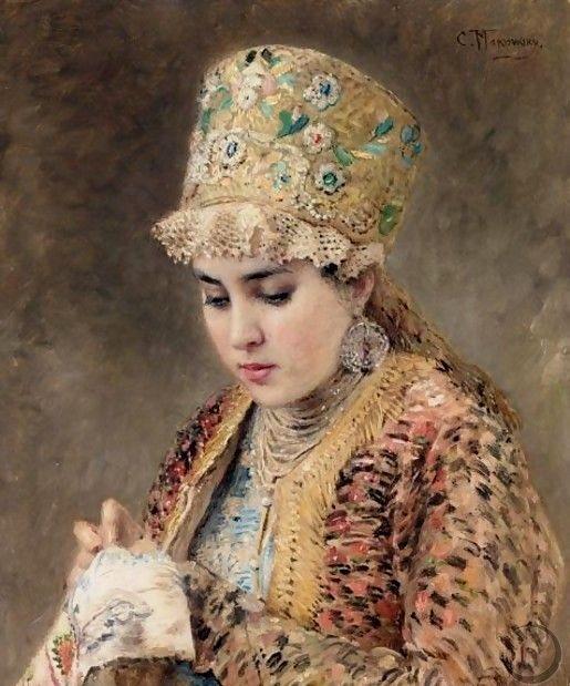 Portrait Of A Young Boyarina by Konstantin Egorovich Makovsky: